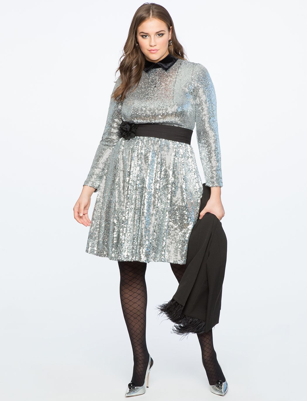 02c91e1c4cf Sequin Fit And Flare Dress With Velvet Collar