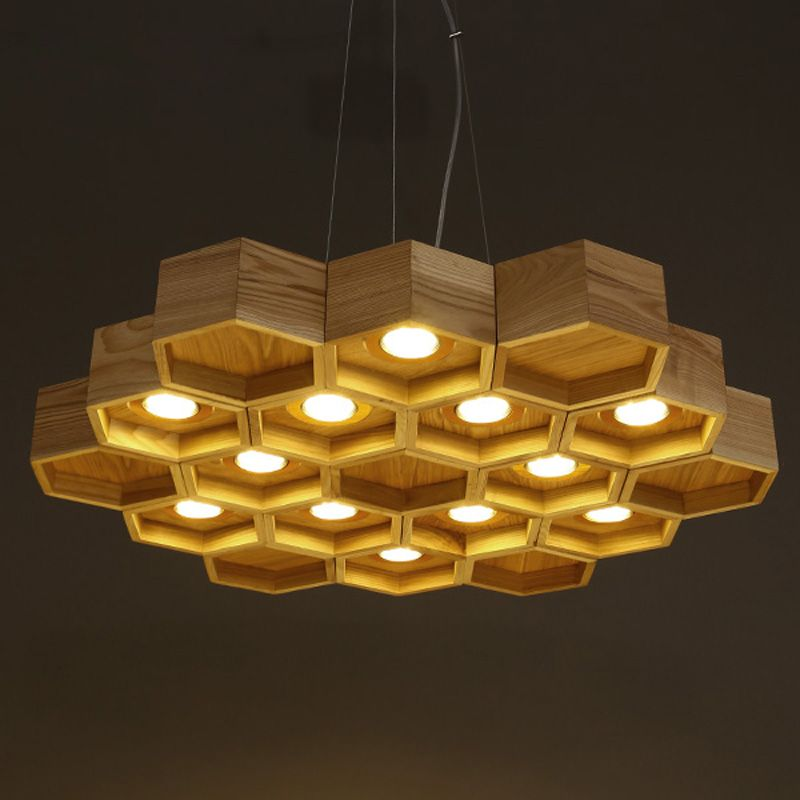 Lamp Flex Quality Artichoke Directly From China Light Pocket Suppliers Newest Art Designer Hive Wooden Pendant Lighting 6lamps 12lamps