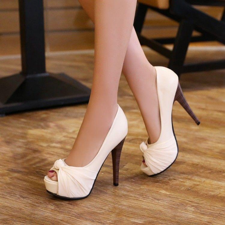 083ac3c7ff6 Peep Toes Women Pumps Platform Stiletto Heel High Heels Shoes Woman
