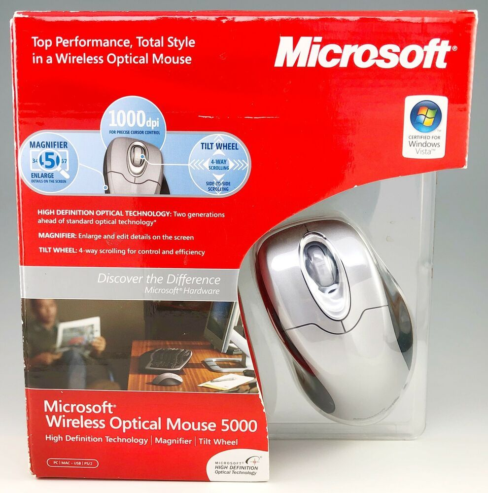 New Microsoft Wireless Optical Mouse 5000 PC Mac Magnifier
