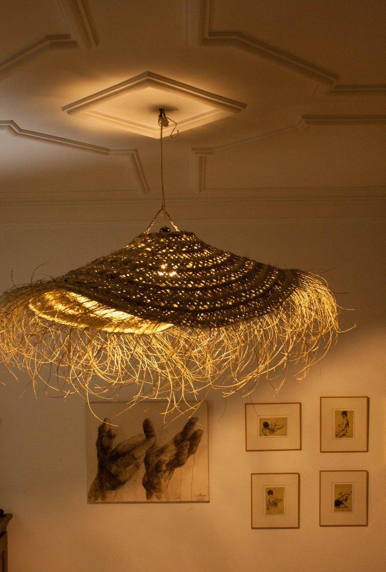 Woven Straw Pendant Lamp Shape Parasol Lighting With Bangs Rattan Chandelier Fringe Wicker Doum Bamboo Ecofriendly Abat Jour Rotin Lampe Suspendue Luminaire