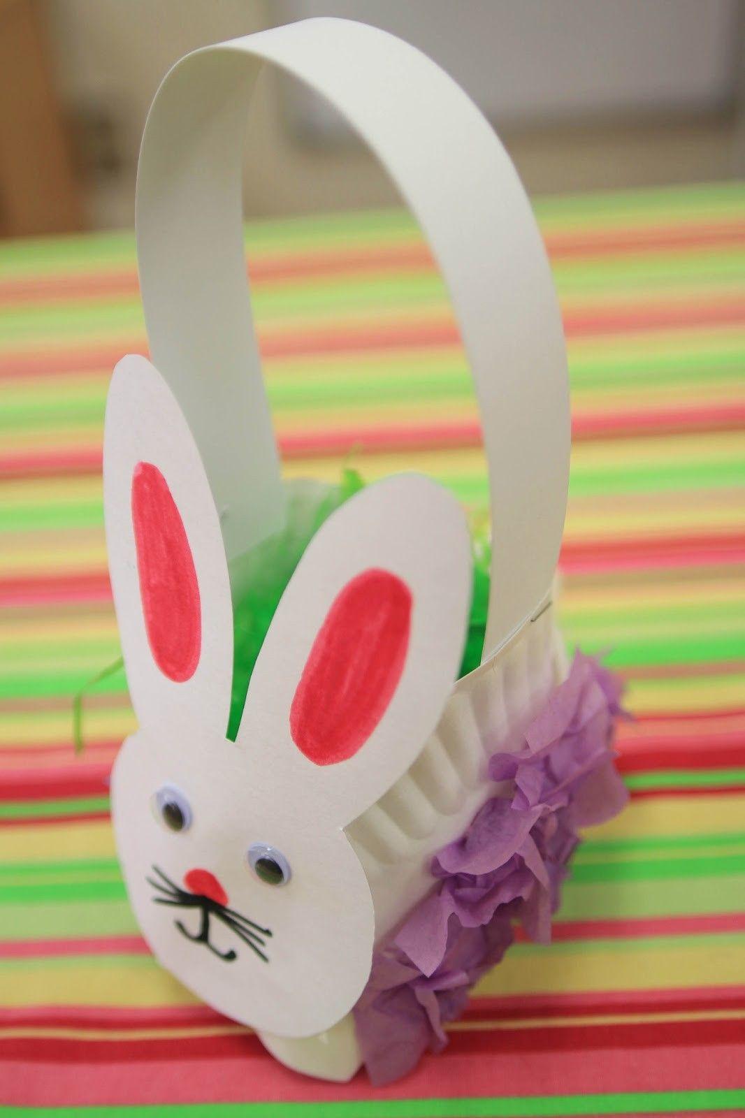 Easter bunny basket paper plate basket easter paper for Easter crafts for kindergarten