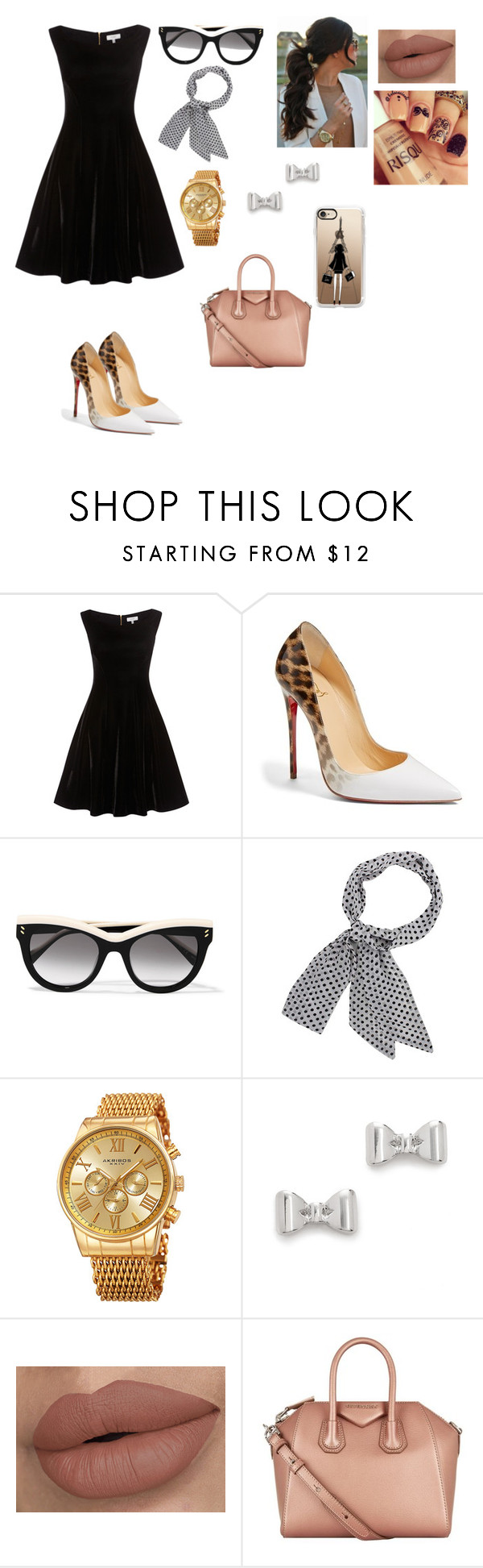 """Black Dress & Louboutins"" by yogurl-riyaa ❤ liked on Polyvore featuring Christian Louboutin, STELLA McCARTNEY, Akribos XXIV, Marc by Marc Jacobs, Givenchy and Casetify"