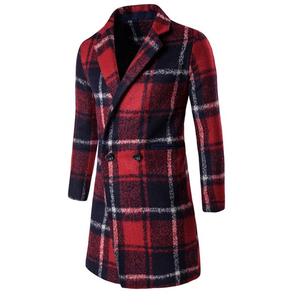 65.25$  Buy now - http://diqke.justgood.pw/go.php?t=207340006 - Buttoned Lapel Collar Checked Coat 65.25$