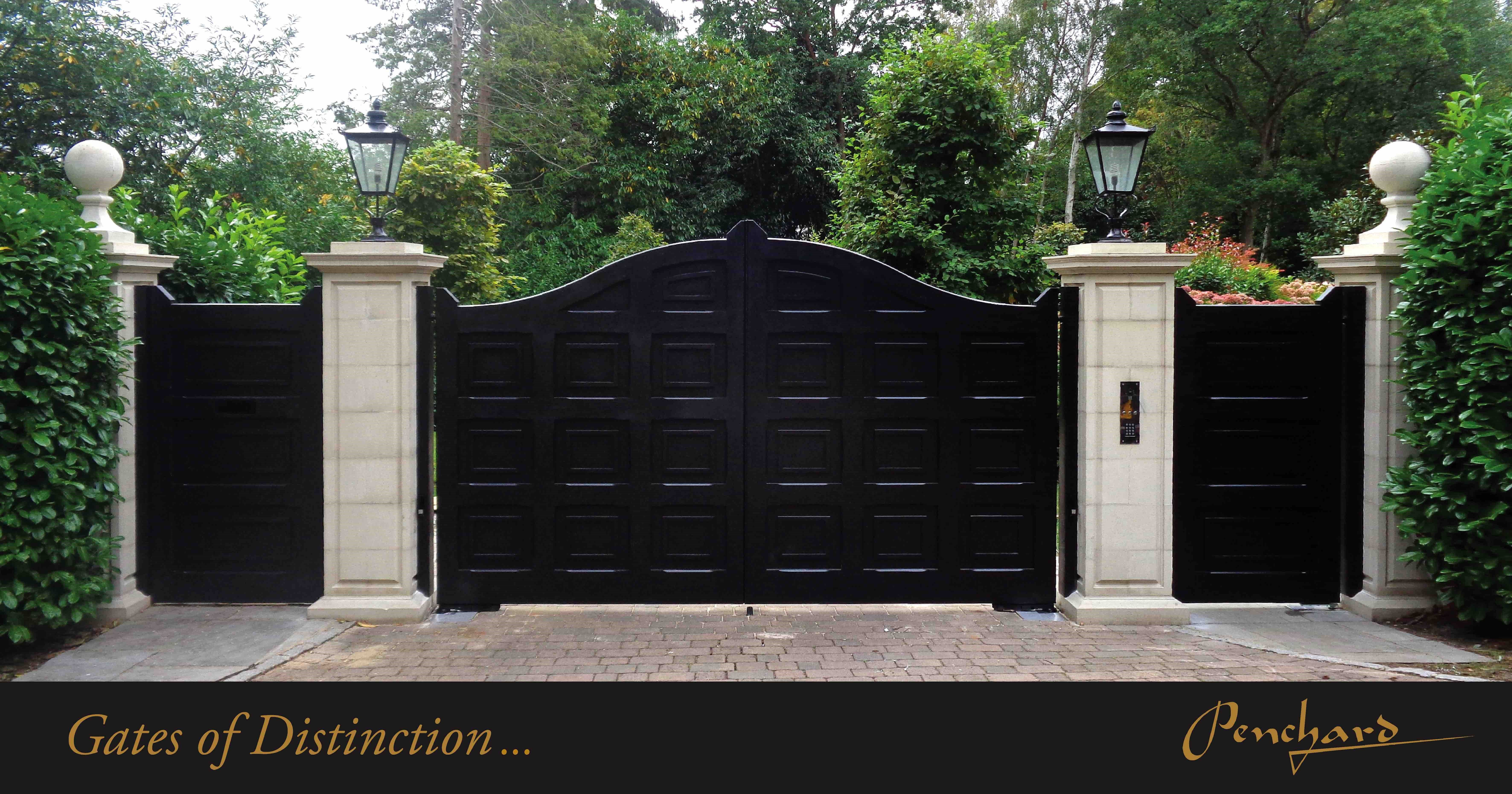 Bespoke Made Black Gates With Panelling Detail Wooden Gates Driveway Entrance Gates Gate Design
