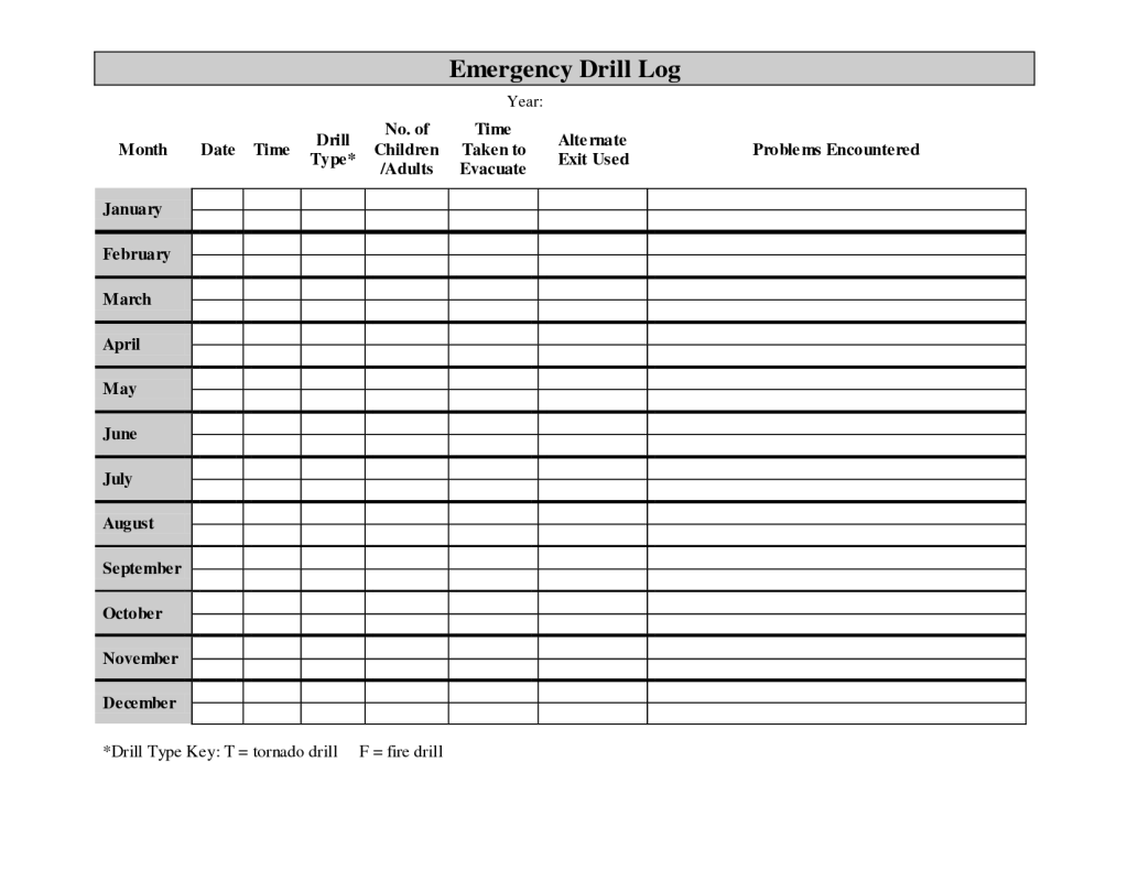 Printable Monthly Fire Drill Log