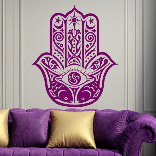 Hamsa wall decal art decor decals sticker india amulet protection yoga buddhism hand yin yang eye of fatima bedroom dorm mural m1301