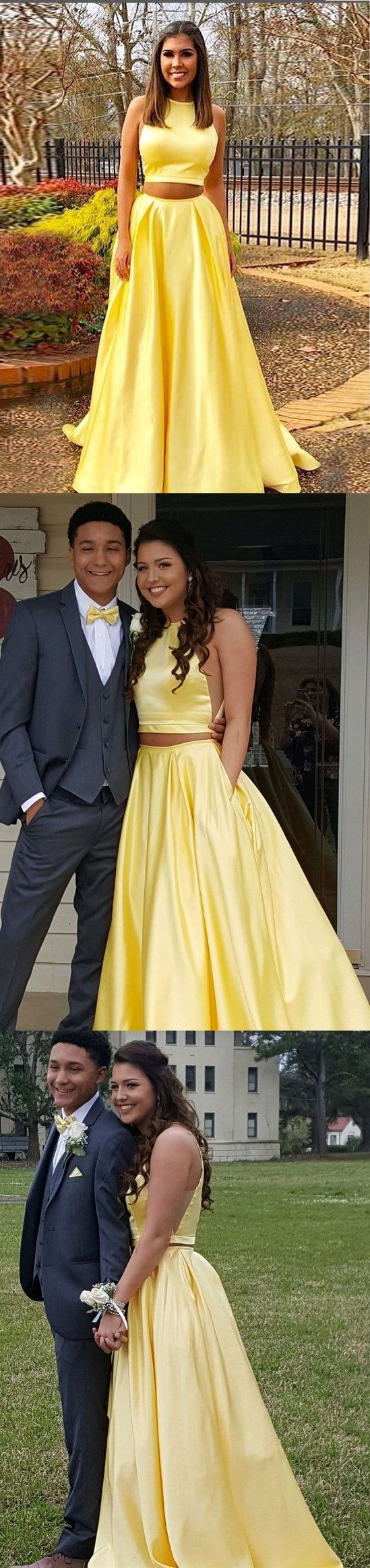 Two piece prom dresses a line simple cheap prom dress yellow evening