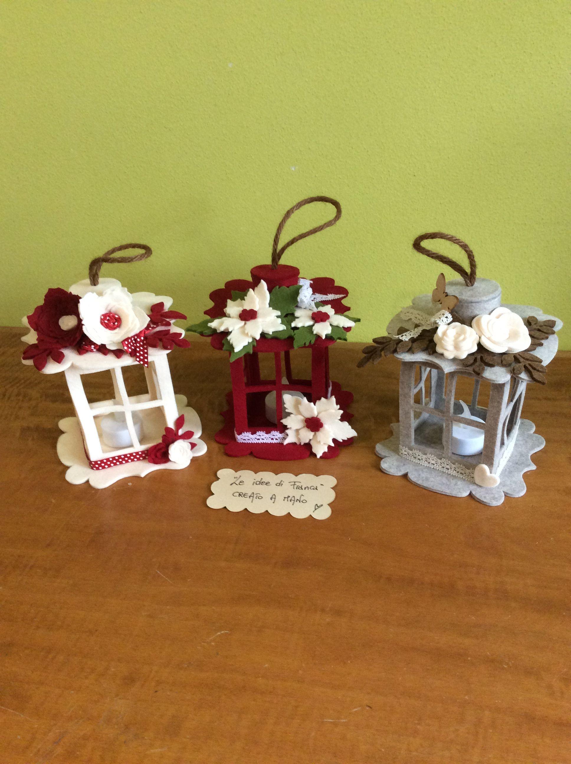 Decorazioni Natalizie In Feltro Pinterest.Lanterne In Feltro Fai Da Te Lanterne Di Natale Ornamento Di