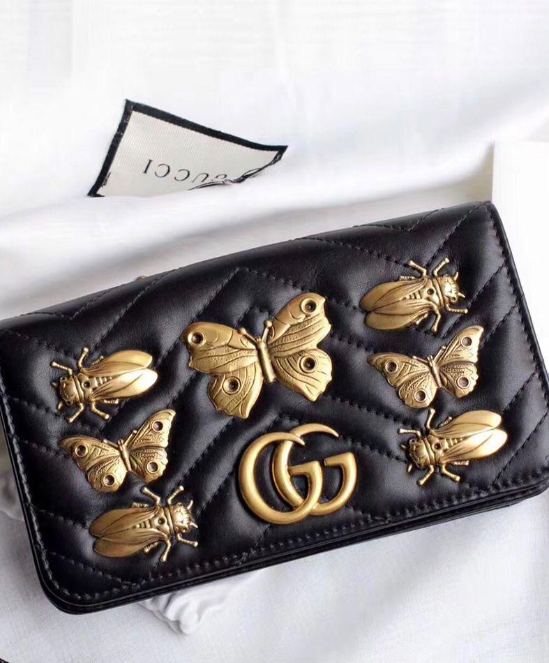 b58aa9960 Gucci GG Marmont animal studs mini bag 488426 Black | Gucci handbag ...
