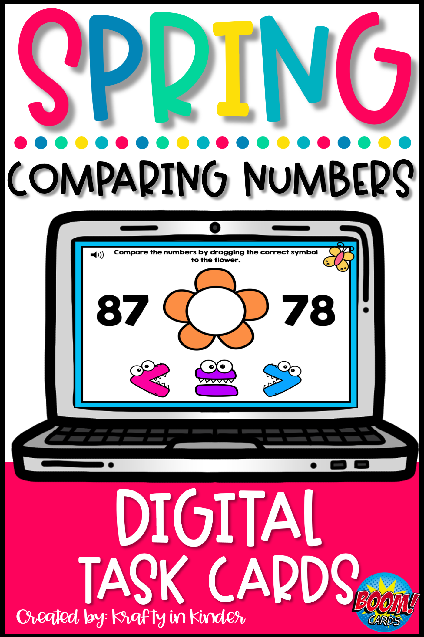 Comparing Numbers Distance Learning Math Boom Cards In