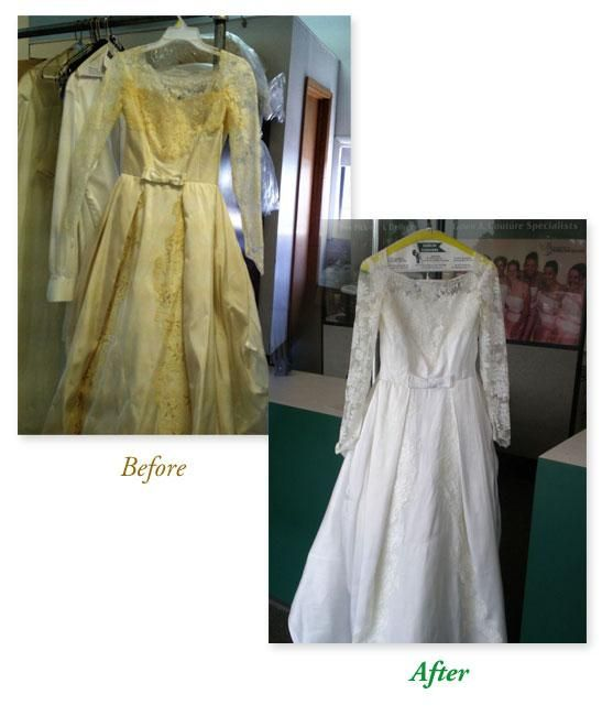 Wedding Gown Cleaning (before/after). Contact Dublin