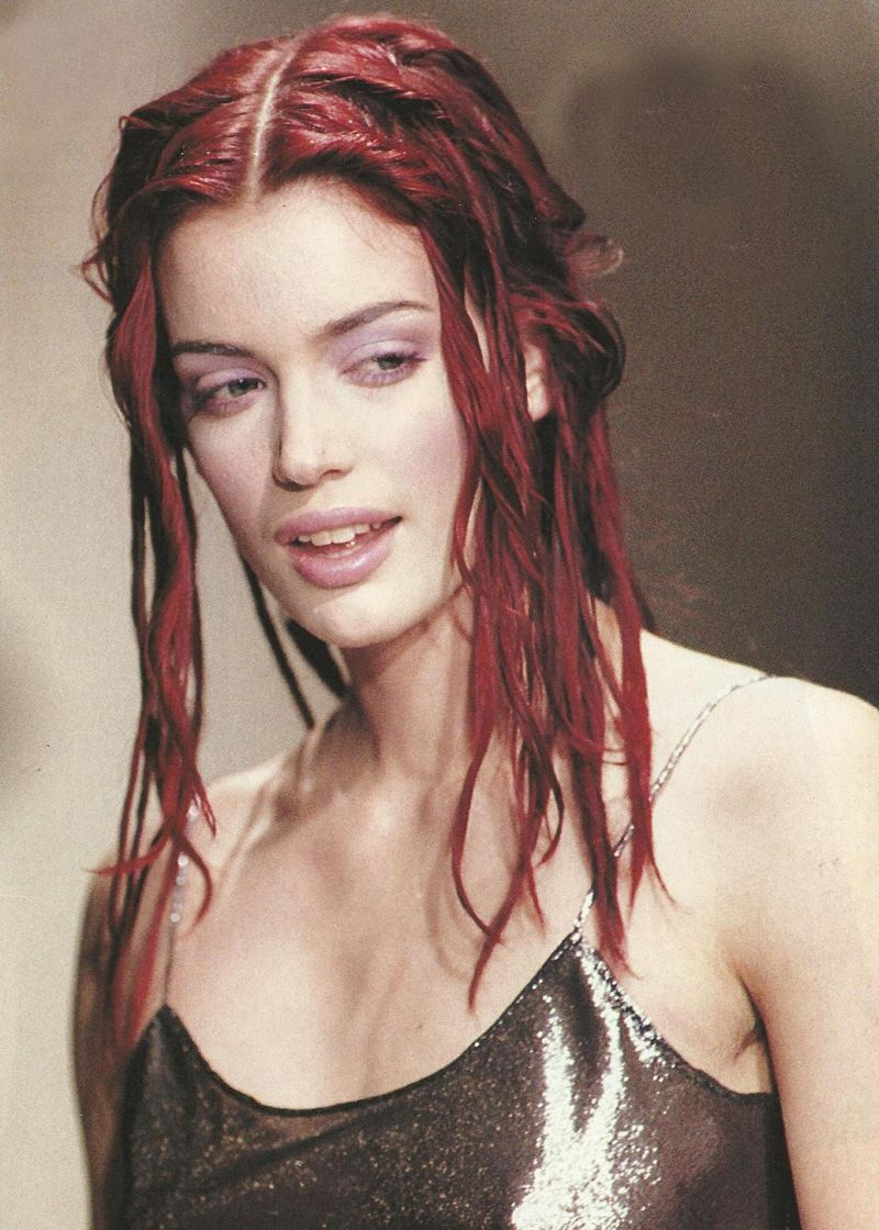 S metallic slip dress faux dreads red hair grunge hair and