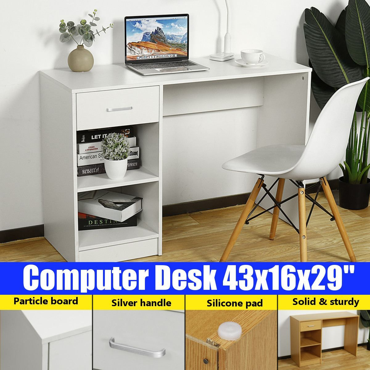 43 Computer Desk Office Workstation Study Writing Pc Laptop Table Dining Gaming Table 1 Drawer 2 Layer Shelves Home Furniture Wallcorners Decor Your Home L In 2021 Desk Furniture Computer Desk Office Computer Desk
