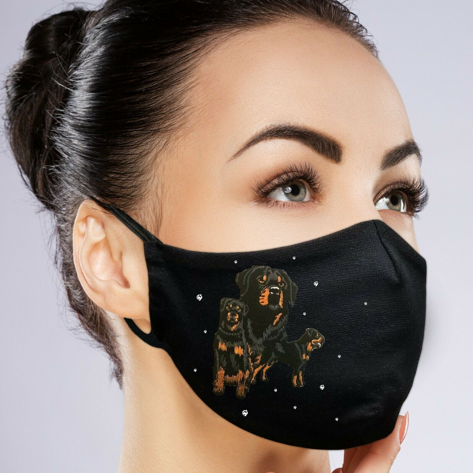 Custom Face Mask Black Filter Pocket Embroidery Crystal Rhinestones In 2020 Cat Face Mask Dog Face Face Mask