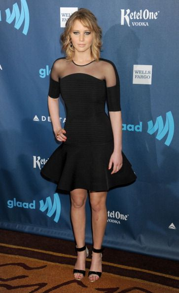 Jennifer Lawrence showed off her new 'do with smoky eyes by Jillian Dempsey & a LBD courtesy of Rachel Zoe at the GLAAD Media Awards
