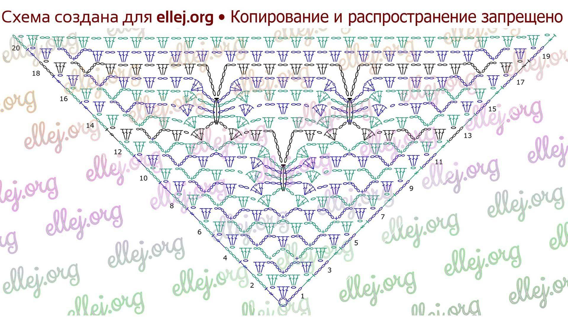 Узор для шали «Лунные бабочки» | sallid, rätid, pontšod | Pinterest ...