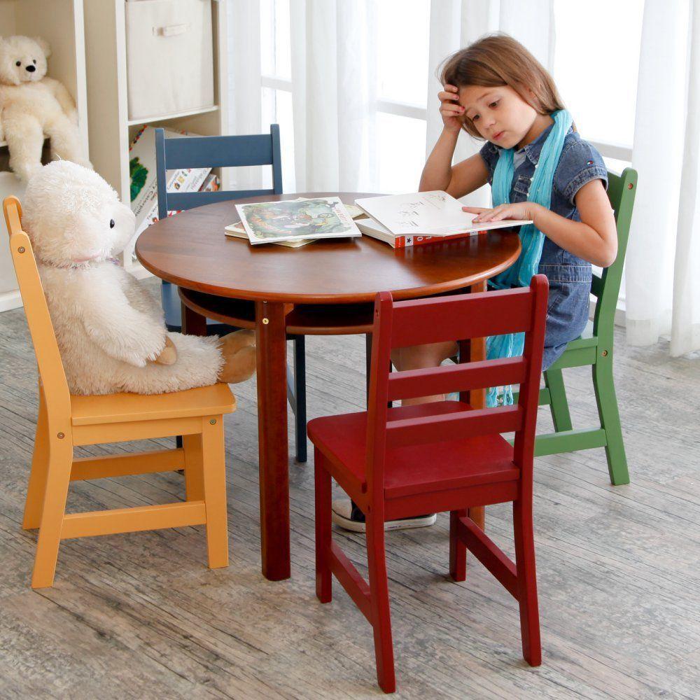 Kids Table Set 4 Chairs Round Children Toddler Furniture Chair