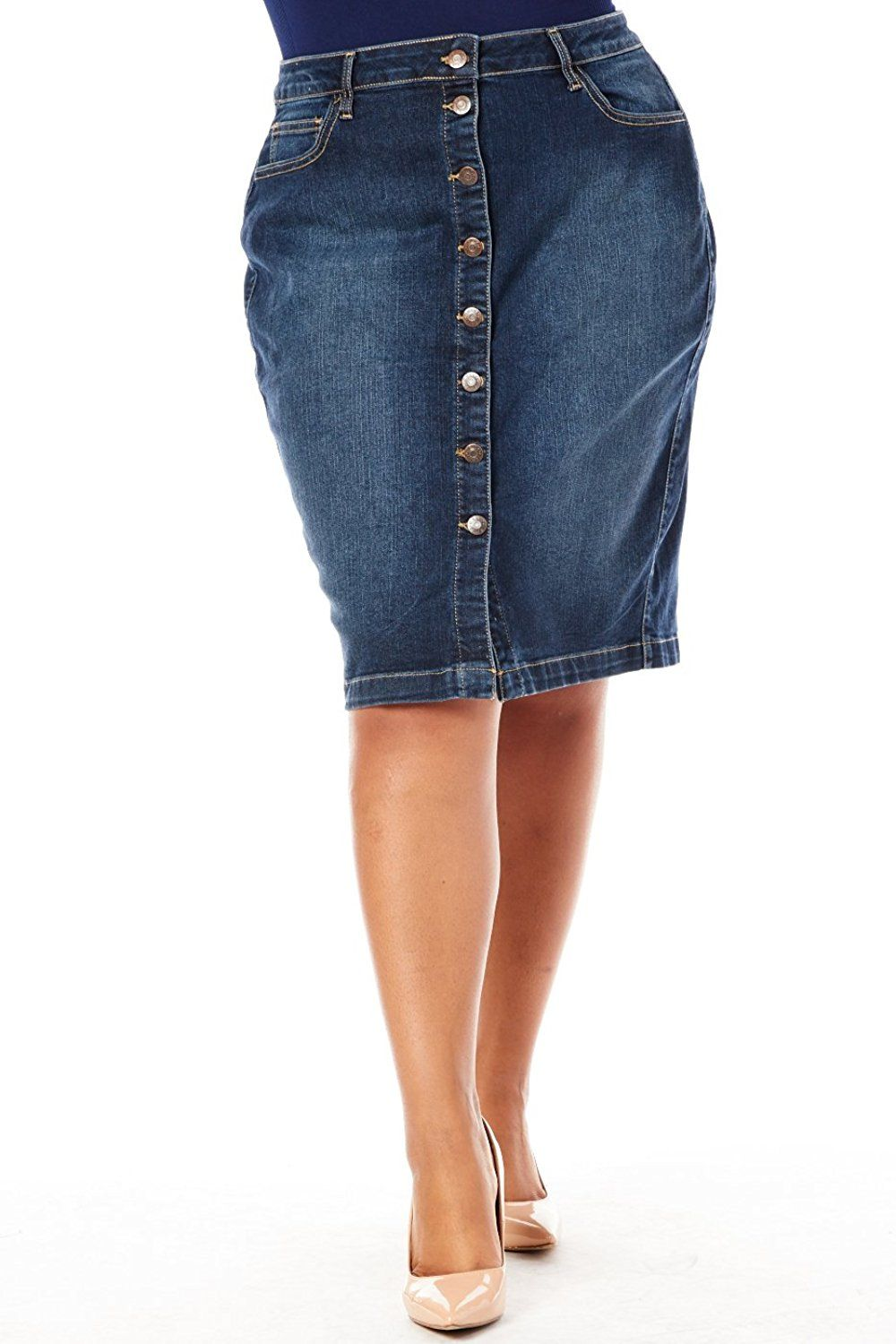 06ed43a93b Womens Ladies Plus Sizes Curvy Button Down Denim Pencil Skirts WV54517P --  This is an Amazon Affiliate link. See this great product.