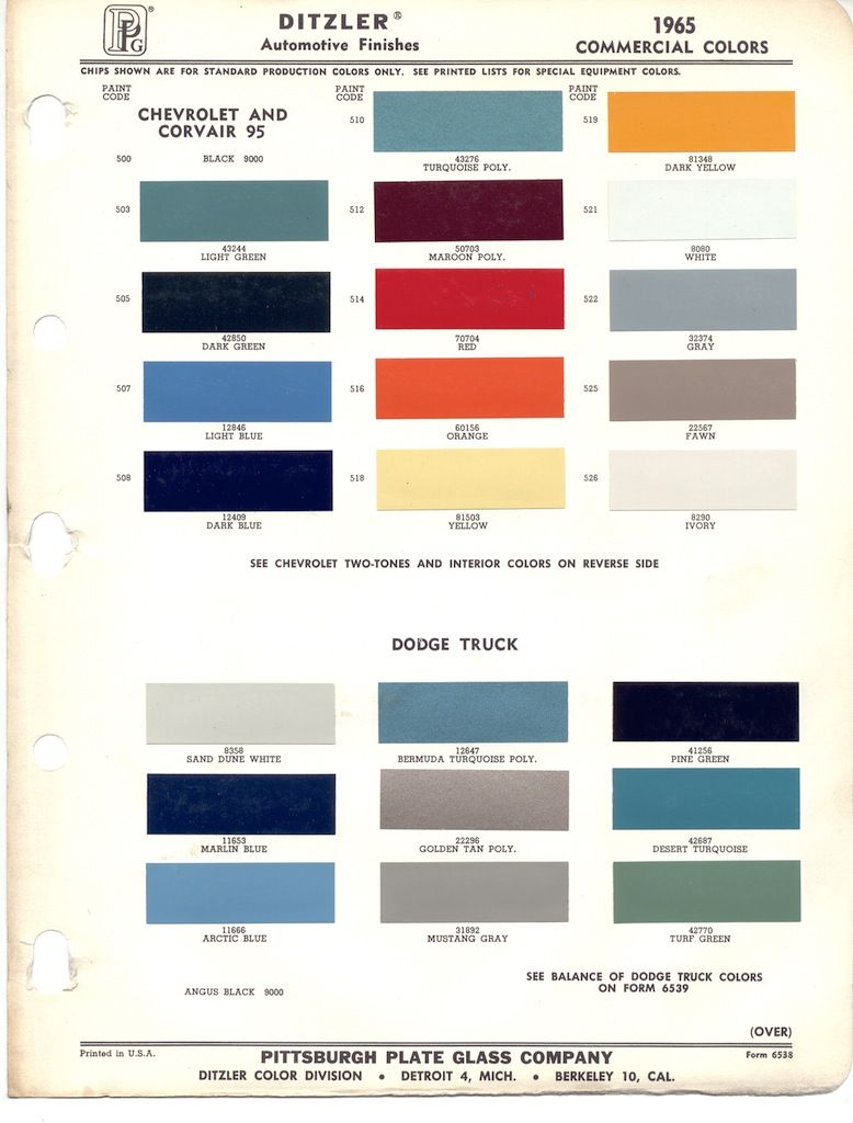 Paint Chips 1965 Chevy Truck Corvair Truck Paint Paint Color Chart Chevrolet