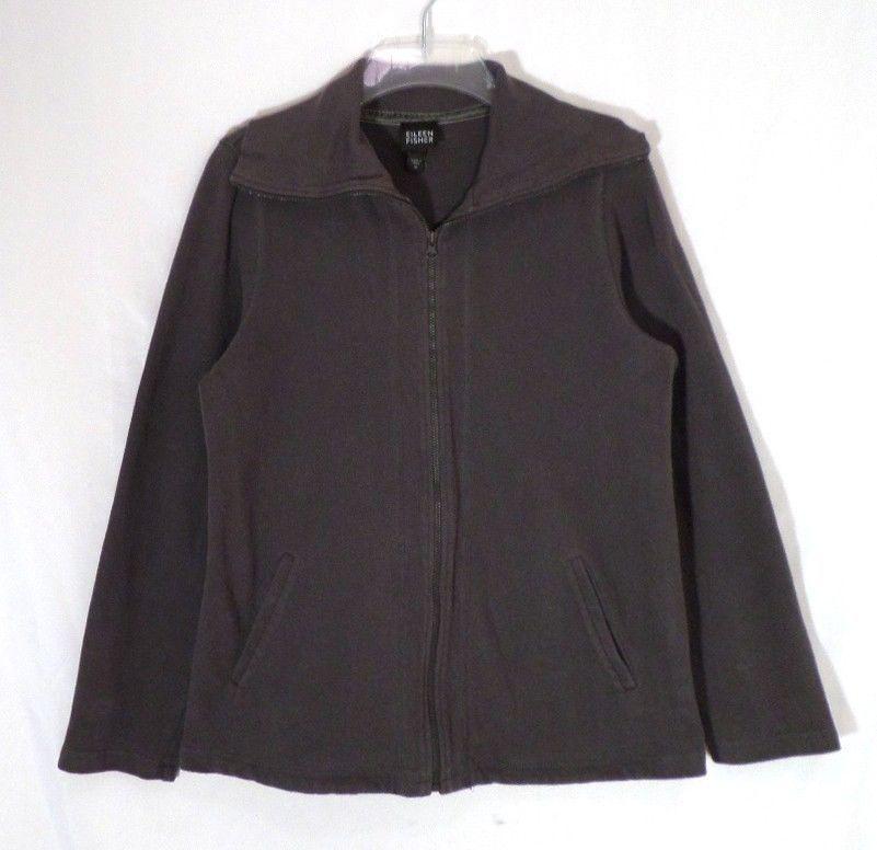 EILEEN FISHER, Women's FULL ZIP Spring Top/Jacket 100% Cotton Brown Size M  #EileenFisher #FullZip