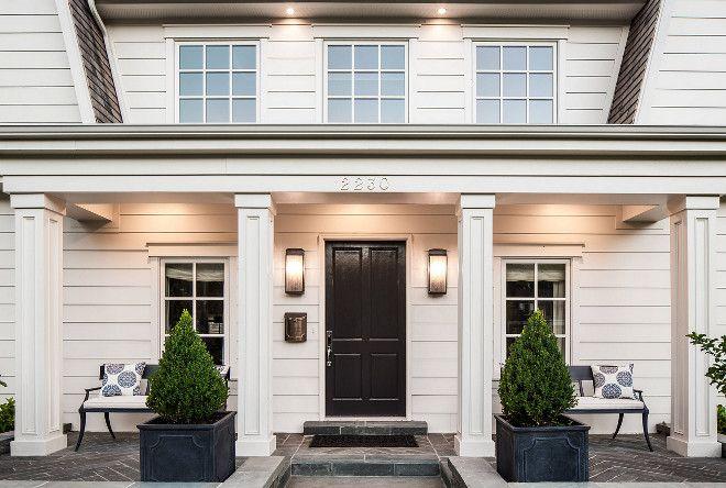 Front Porch Planters Columns Classic Front Door Slate Herringbone