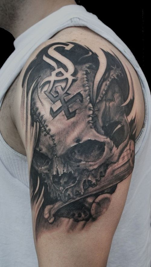 5c9211bb9 Cool Half Sleeve Skull #Tattoos for Men by www.coolmantattoos.com ...