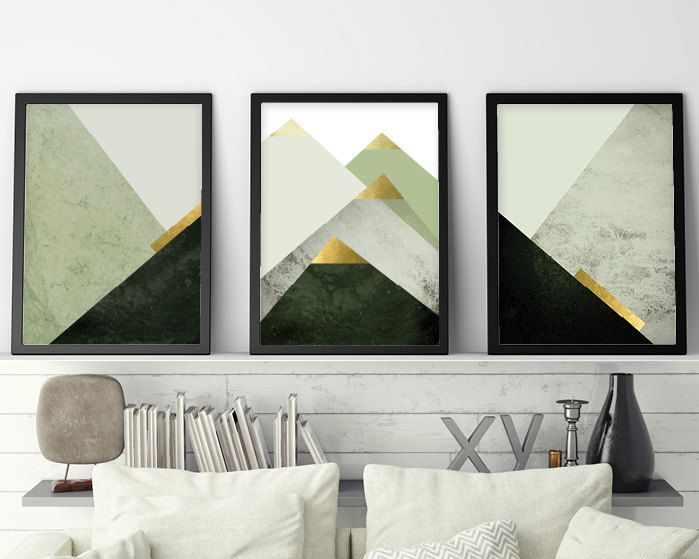 Printable Set Of 3 Nordic Mountains Downloadable Scandinavian Triptych In Dark Green And Gold Trio Of Scandi Geometric Mountains Wall Decor Scandinavian Wall Art Printable Art Set Mountain Wall Decor