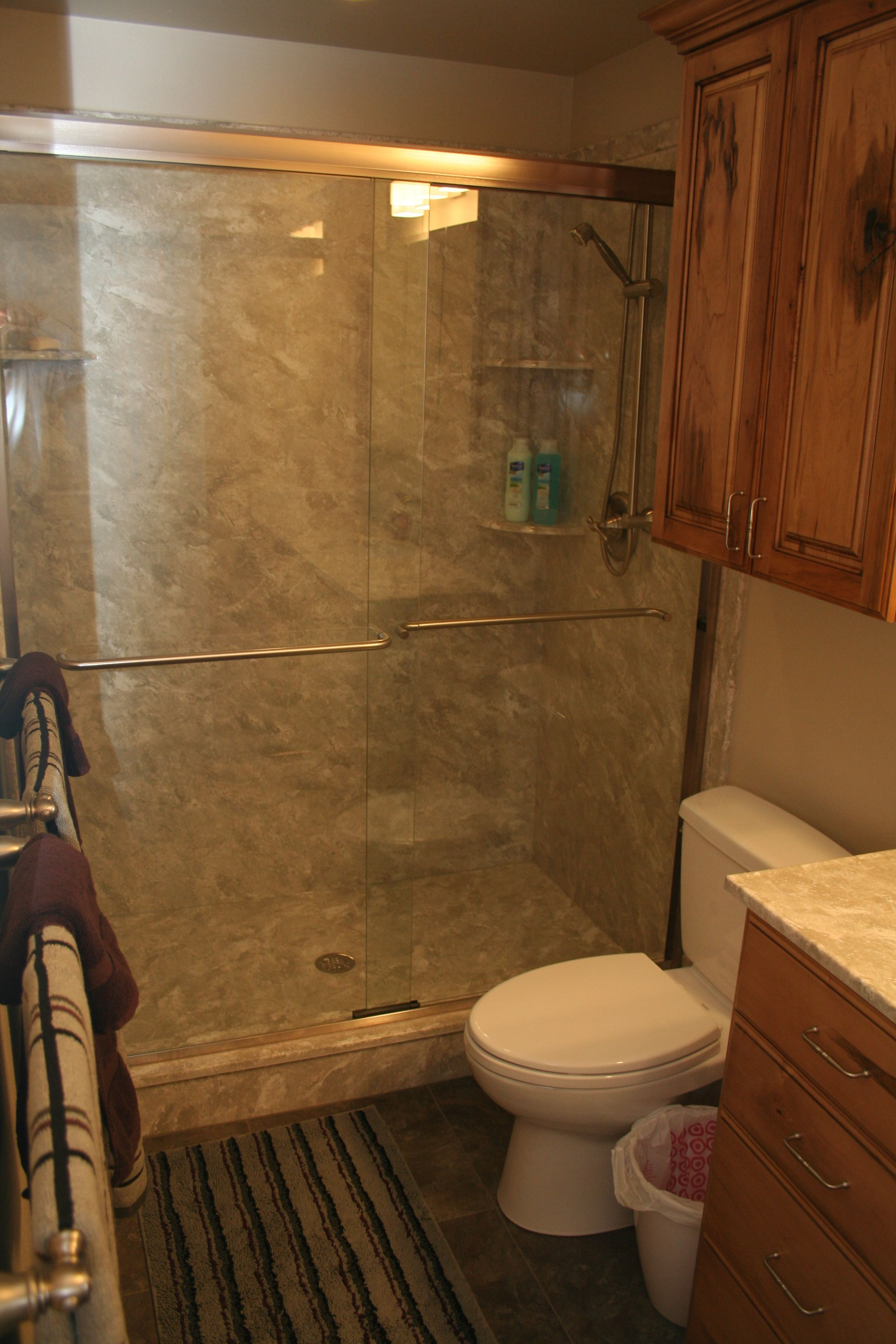 Large Walk In Shower With Sliding Glass Door Bathroom Remodel | 3 Day  Kitchen U0026