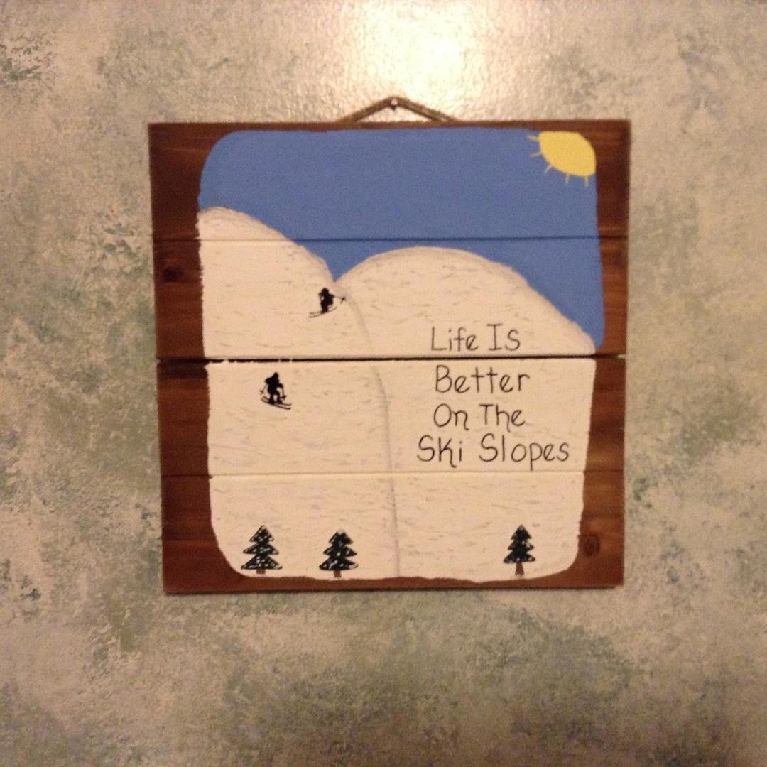 Life Is Better On The Ski Slopes Hanging Wood Pallet Sign etsy.me/2CjCY35 #homedecor #ski #skiing #skislope #cabindecor #wallhanging #palletart