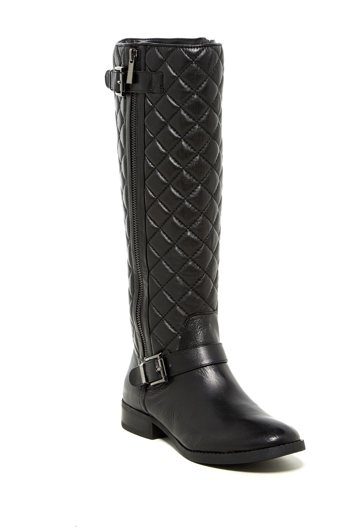 Vince Camuto Womens Black Boots Leather Boot Faya Riding Wide Calf