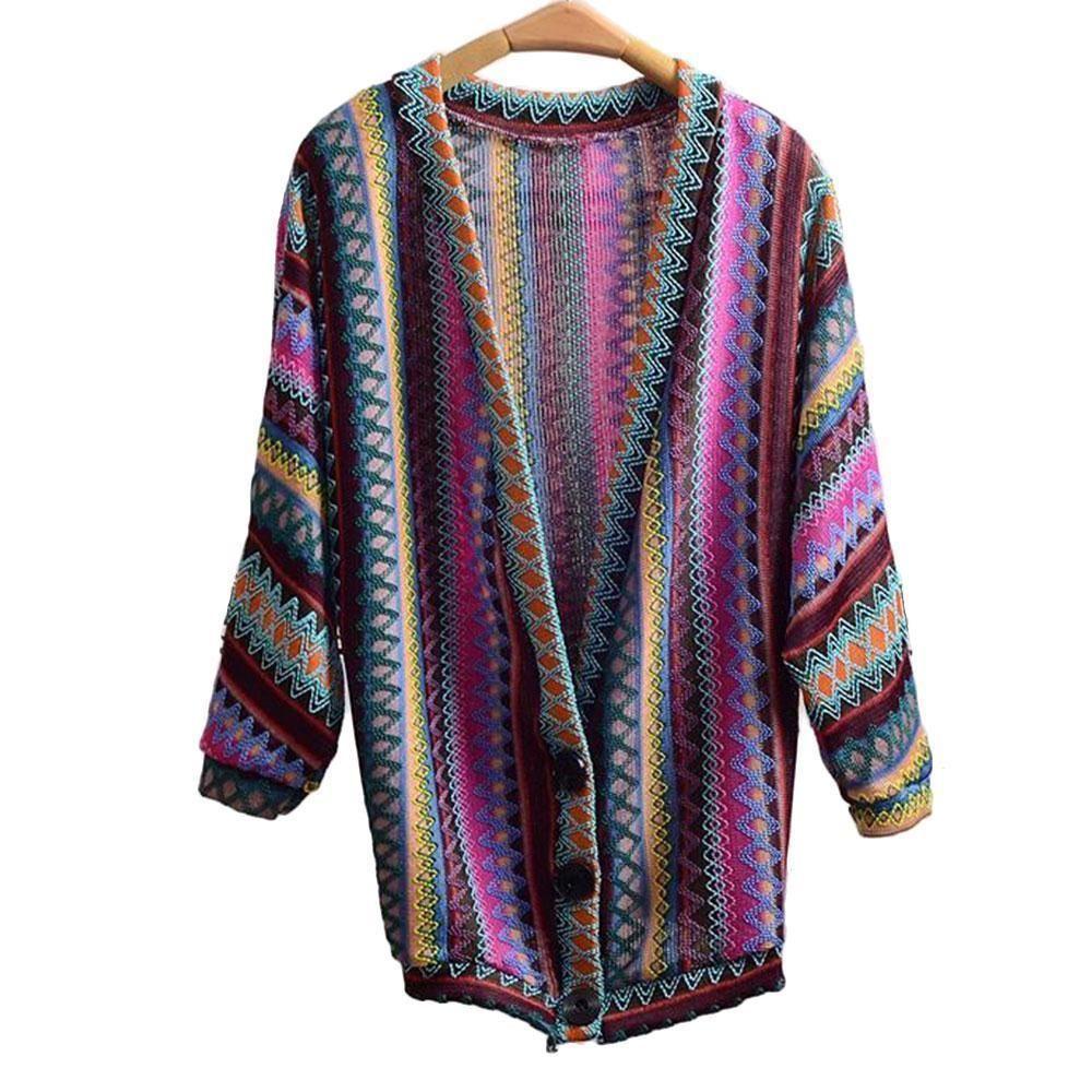 6886dd6eafb7c7 Fashion Women Cardigan Batwing Sleeve Lady Retro Patchwork One Size Ethnic  Rainbow Weave Spring Autumn Striped Sweater Cardigan