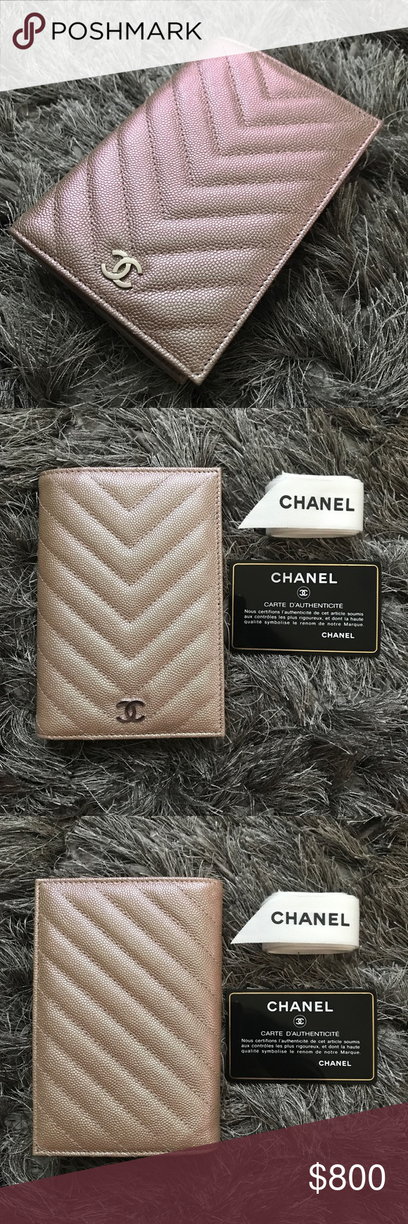 69a4f95987ea Chanel Passport Holder in Light (Rose) Gold ✨AUTHENTIC✨ BRAND NEW Chanel  Iridescent Chevron Passport Holder in Light (Rose) Gold Caviar Leather with  ...