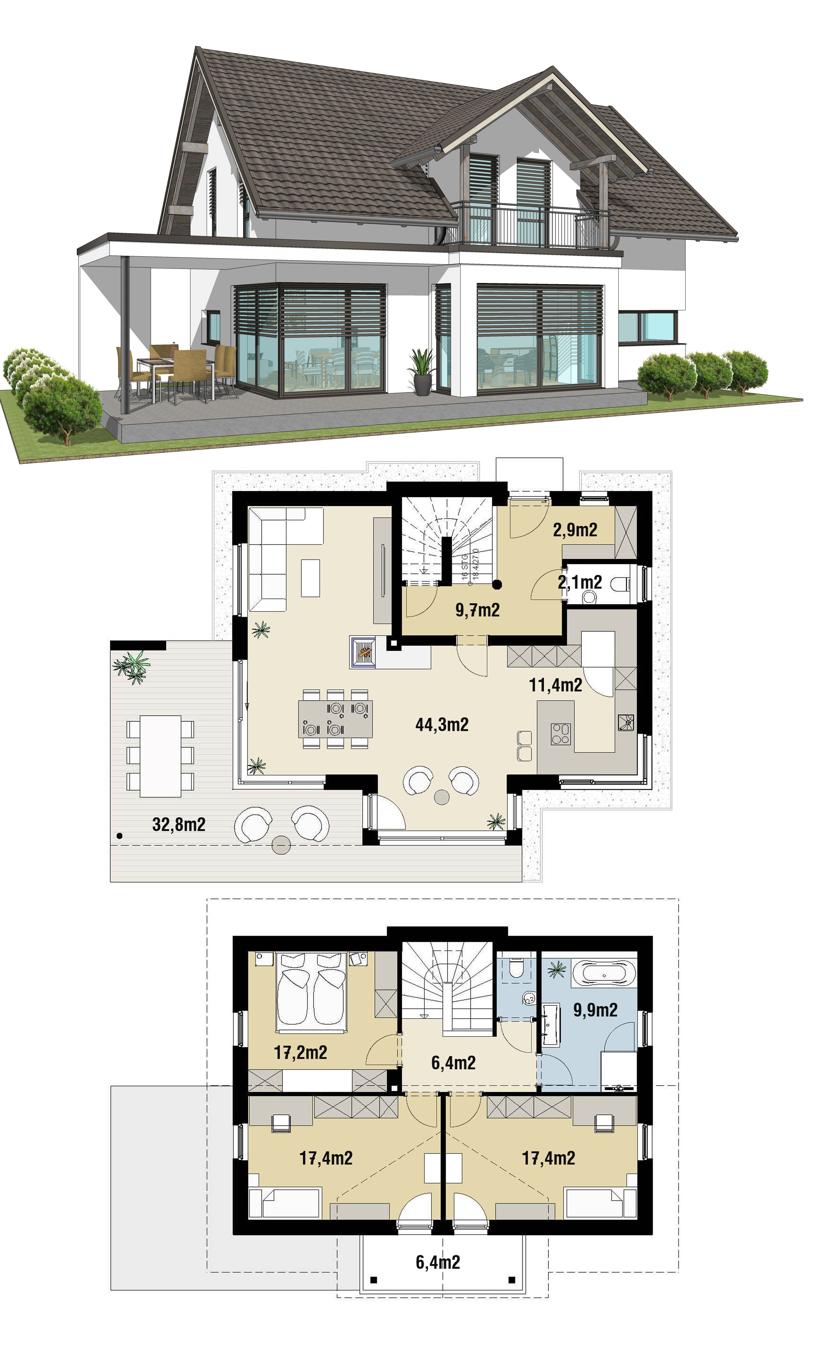 Small House Design Ideas Plan 88m2 3 Beds Small House Small House Design House Designs Exterior