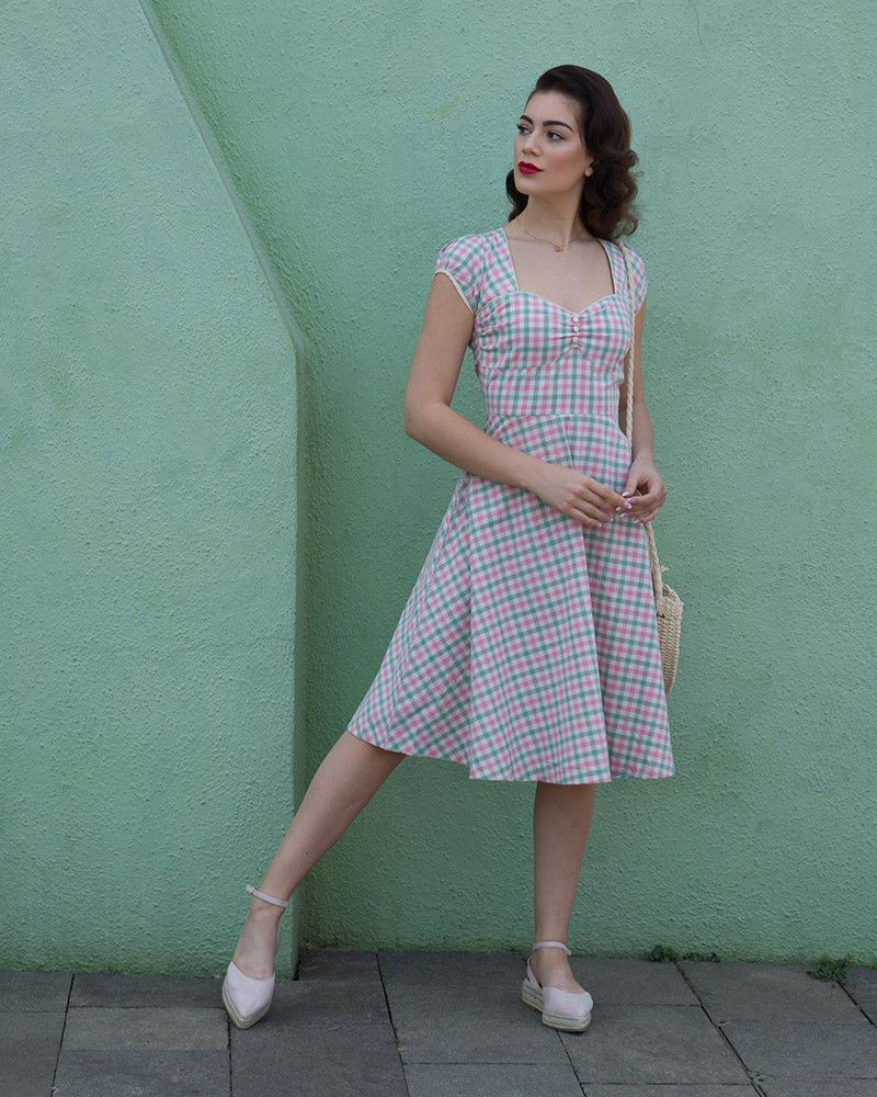a0bbc05f5a48 Bella Pink Green Gingham Swing Dress | Vintage Swing Dresses | Lindy Bop