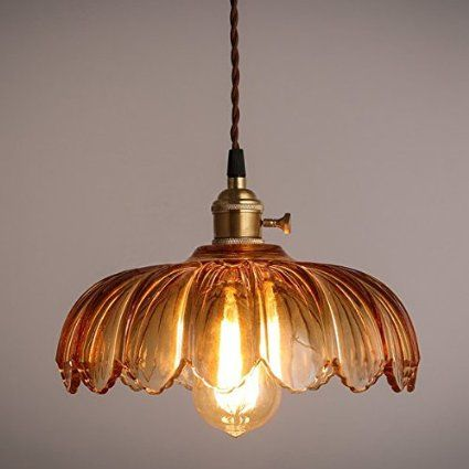 ONEPRE Vintage Comtemporary Glass Pendant Light Elegant Champagne Color Lamp With ON