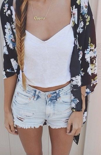 29272e8c3f5e black and blue floral kimono, white v-neck crop top, light-washed  distressed high-waisted shorts, gold necklace