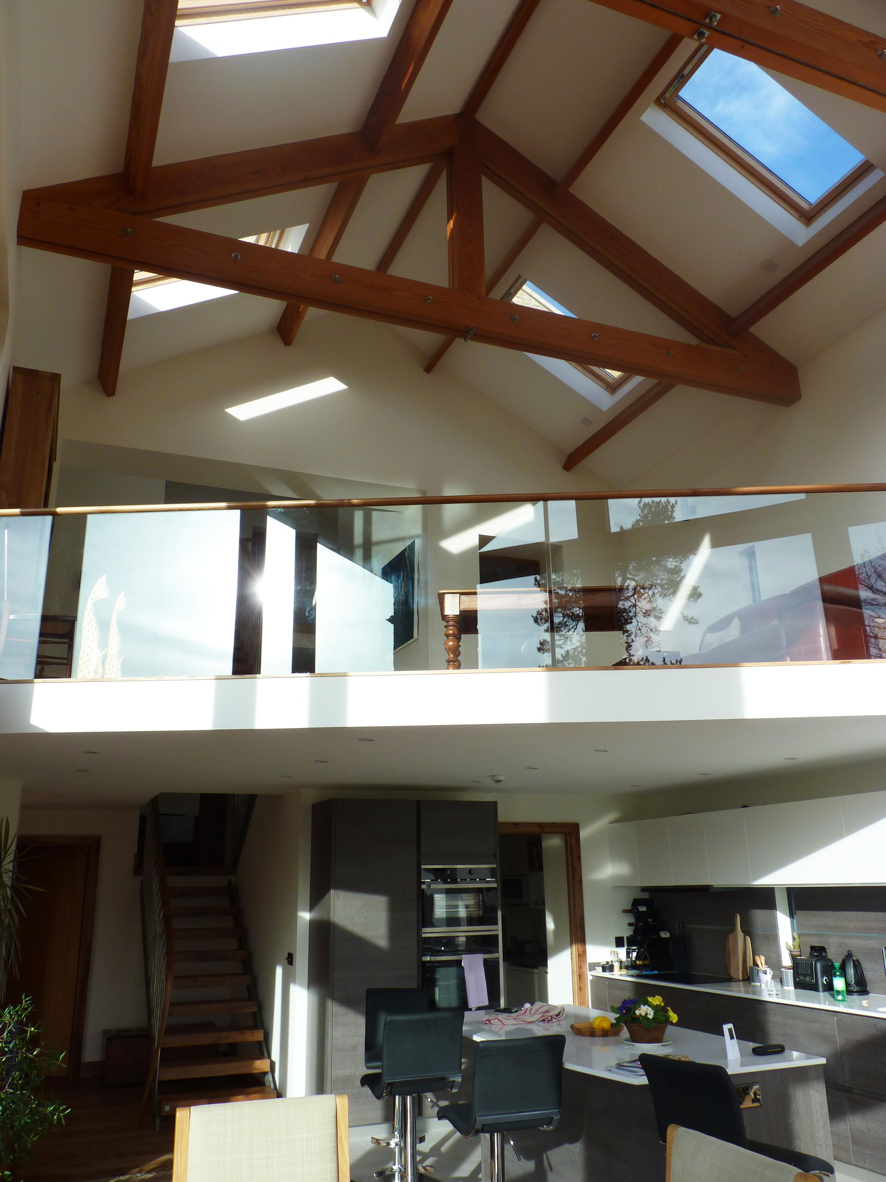 Pole Barn Open Plan Living Space, Oak, Glass, Mezzanine Floor