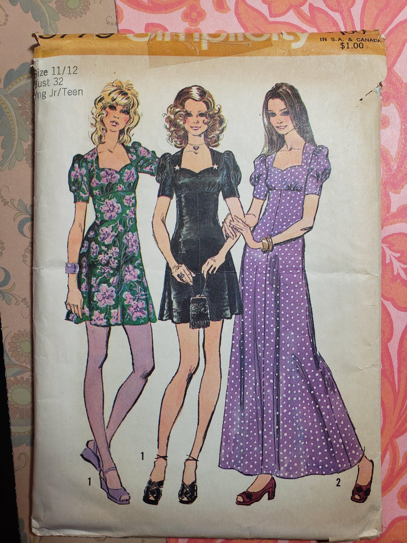1970 S Sewing Pattern Simplicity Pattern 9779 Girls Dress Pattern From 1971 Vintage Dress Patterns Fashion Simplicity Patterns Dresses