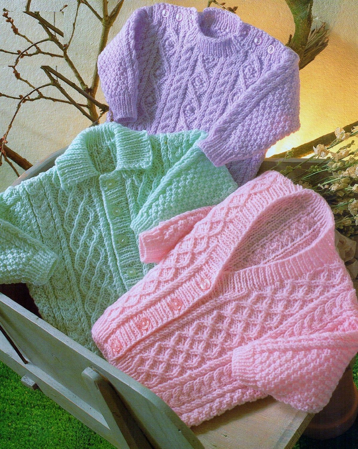 Baby Knitting Pattern pdf Double Knit Cable Cardigans and ...