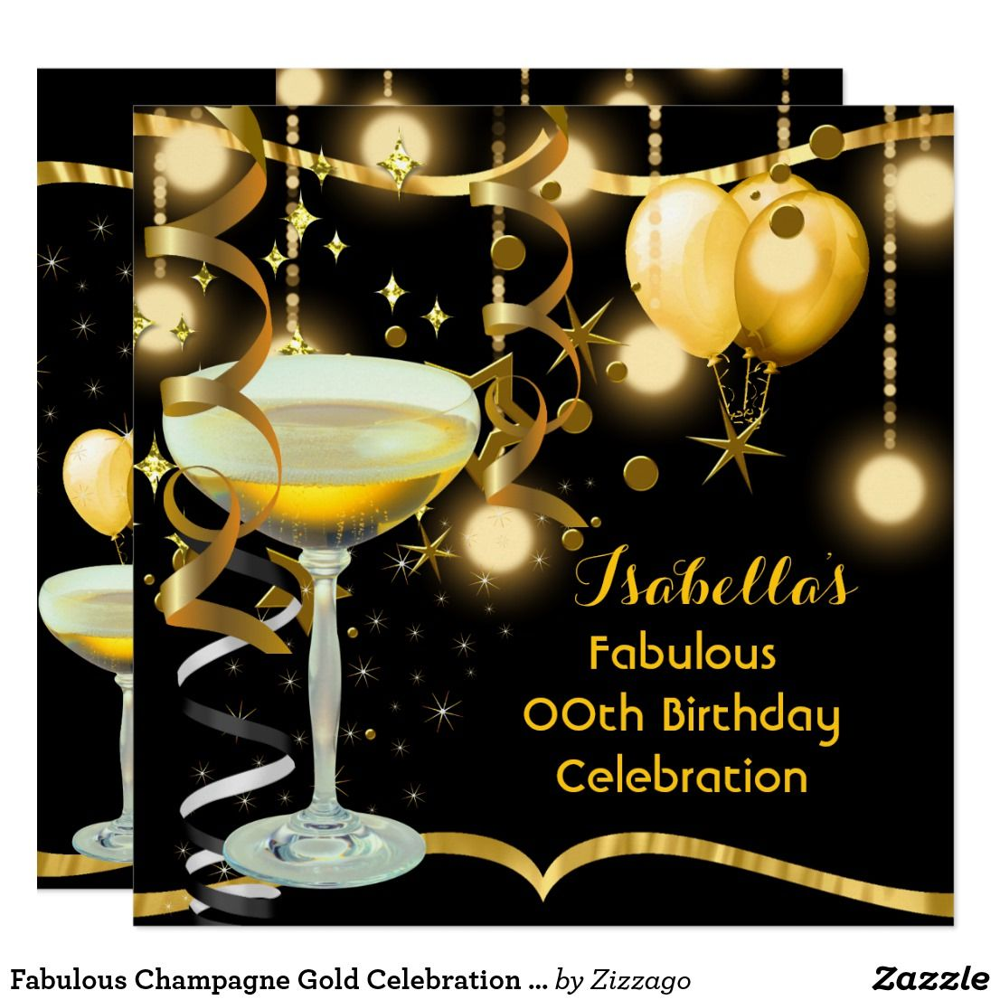 Fabulous Champagne Gold Celebration Party Invitation   Zazzle.com   Gold  celebration, Birthday shots, Fun birthday party