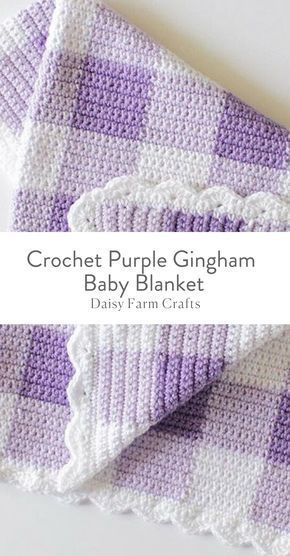 Free Pattern Crochet Purple Gingham Baby Blanket If I Could