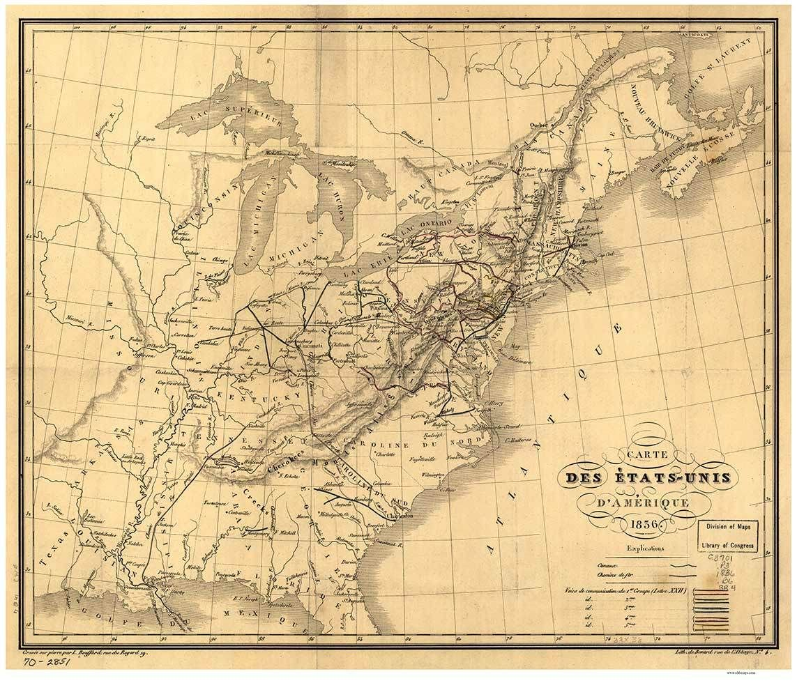 Usa 1836 Railroad Map Old Map Reprint Usa Rr Map Old Map Map Old Maps