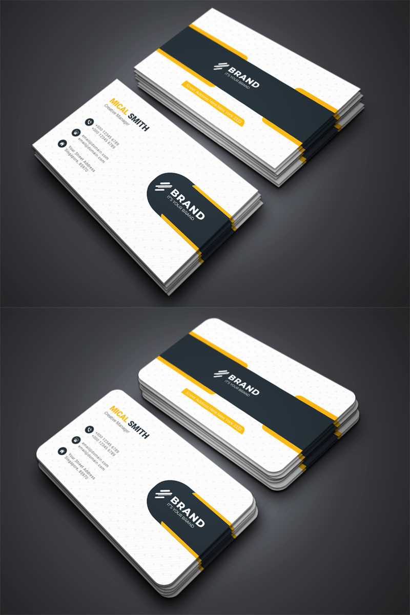 Business Card Template White Theme With Blue And Yellow Highlight Elegant Business Cards Design Business Card Design Simple Professional Business Card Design