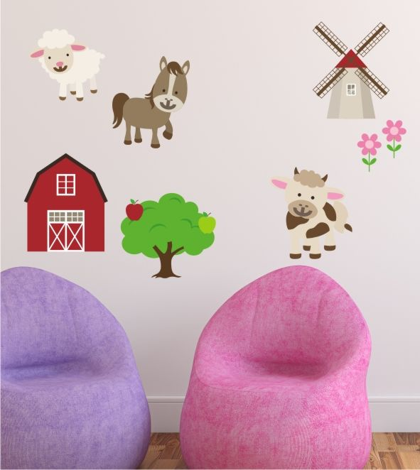bauernhof wandtattoo kinderzimmer wandsticker wandaufkleber tiere landleben k he kids stuff. Black Bedroom Furniture Sets. Home Design Ideas
