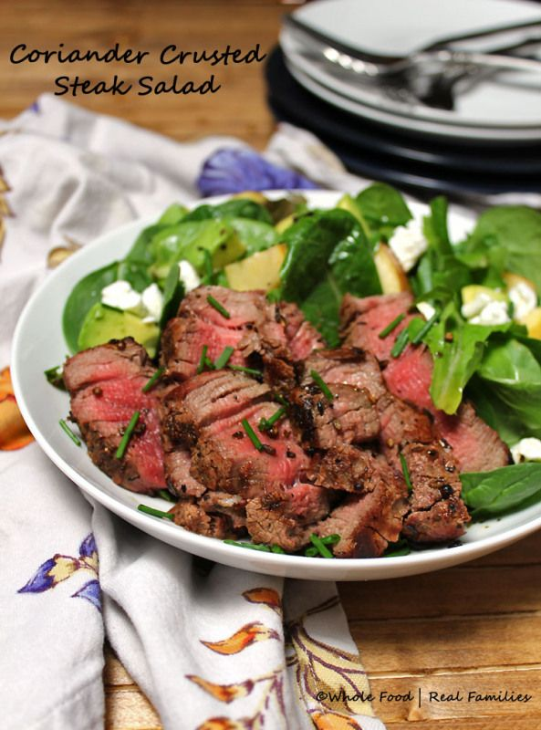 Coriander Crusted Steak Salad is flavorful and cooks and assembles quickly. Perfect with steak from the grill or use up leftover steak from previous meals. Pin it for your next weekday meal. Find more recipes like this one at www.wholefoodrealfamilies.com. #beef #WeekdaySupper