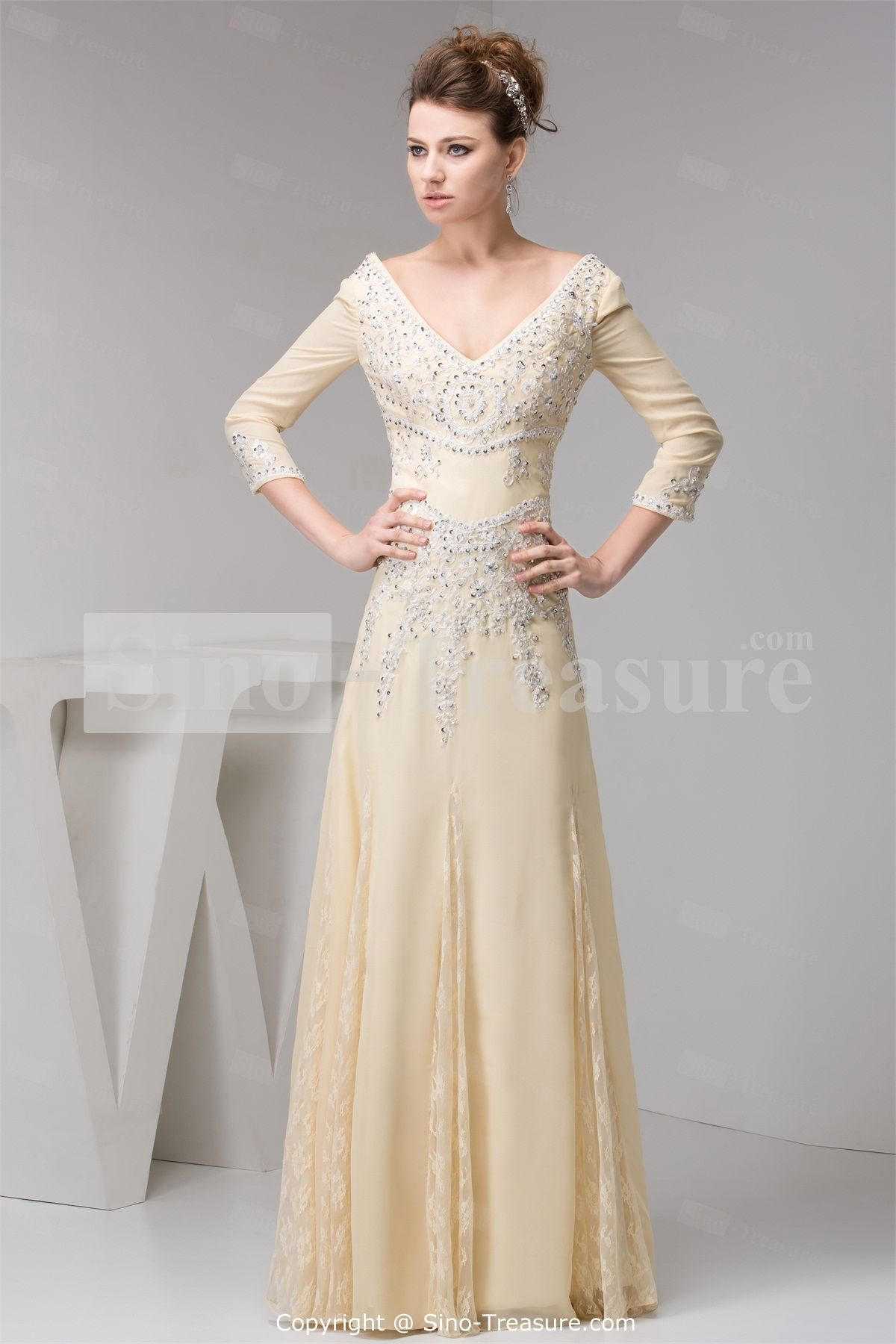 Gorgeous Sheath Column V Neck Long Sleeve Wedding Dresses : Sleeves long sleeve evening dresses gowns dress