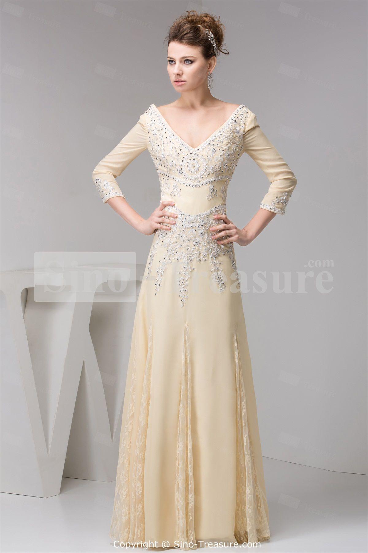 Amazing Long Sleeve Evening Dresses Beige V Neck Long