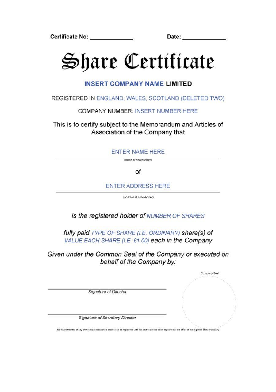 10 Share Certificate Templates Word Excel Pdf Templates Stock Certificates Certificate Templates Words