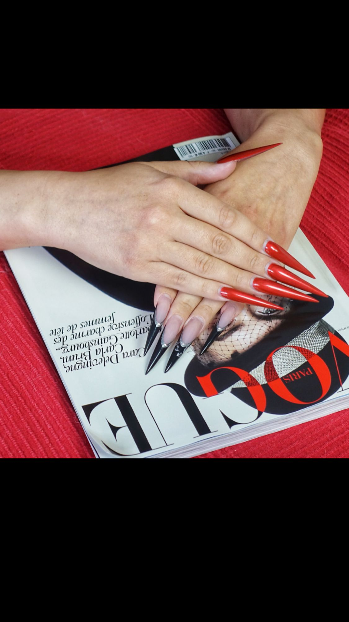 EXTRA AF long stiletto nails red nails #manicure #inspo #flatlay ...